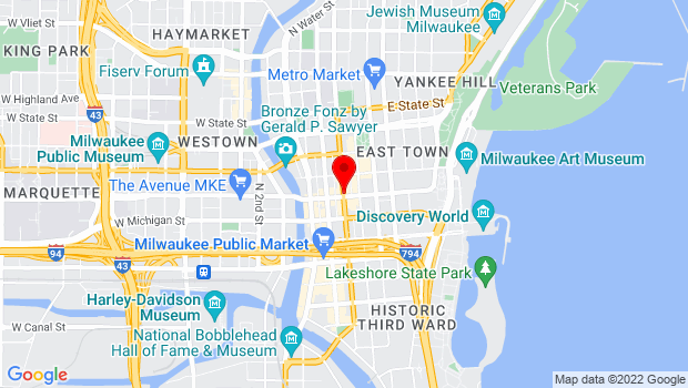 Google Map of Downtown Milwaukee, Milwaukee, WI